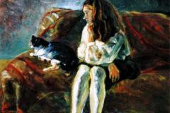 中島玲子 油彩画 「猫とナターシャ」