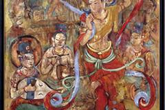 青木登和子 油彩画 「浄土の舞」